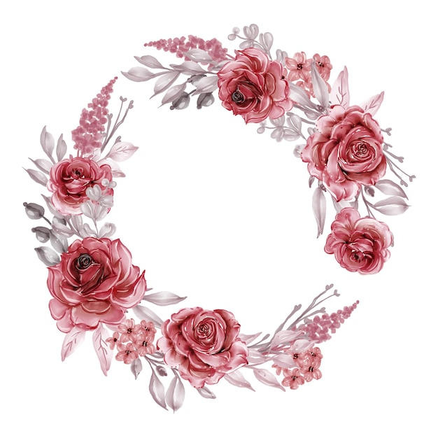 Wieniec Kwiatów Z Bordowymi I Czerwonymi Różami, Liście Premium Wektorów