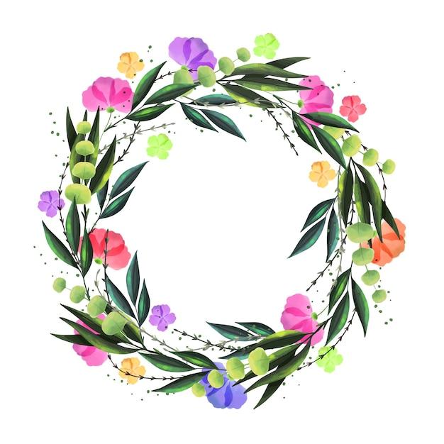 Wieniec Kwiatowy W Stylu Przypominającym Akwarele Darmowych Wektorów