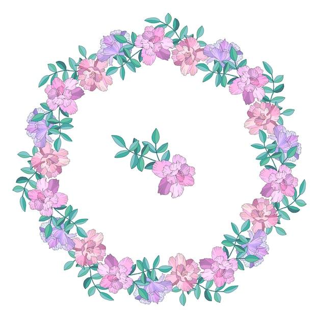 Wieniec, Rama Z Kwiatami I Liśćmi. Ręcznie Rysowane Ilustracji. Odosobniony Premium Wektorów