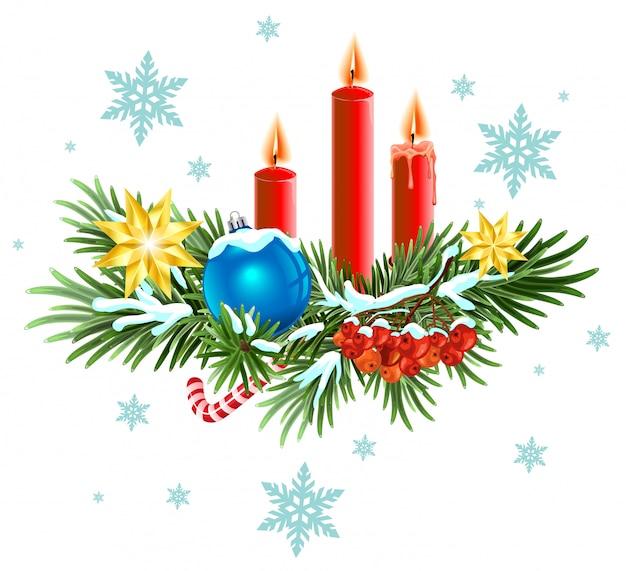 Wieniec świąteczny. świerkowe Gałęzie Ze świecami, Cukierkami I Jagodami Premium Wektorów