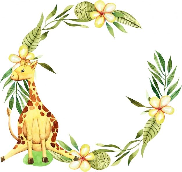 Wieniec z akwarela cute żyrafa, kwiaty i elementy kwiatowe Premium Wektorów