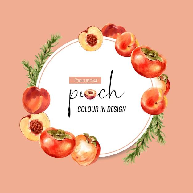 Wieniec z brzoskwini i śliwki, kreatywny pomarańczowy kolor ilustracji. Darmowych Wektorów