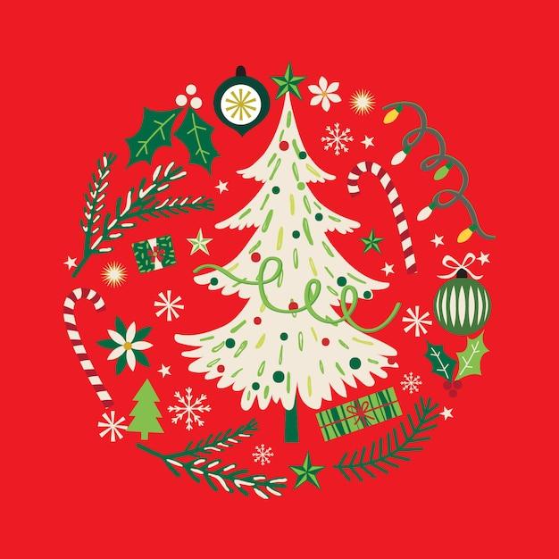 Wieniec Z Choinką I Ozdobą świąteczną Premium Wektorów