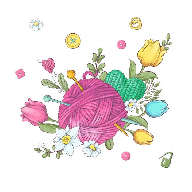 Wieniec Z Kreskówek Z Dzianiny Elementów I Akcesoriów I Wiosennych Kwiatów. Rysunek Odręczny. Ilustracja Premium Wektorów