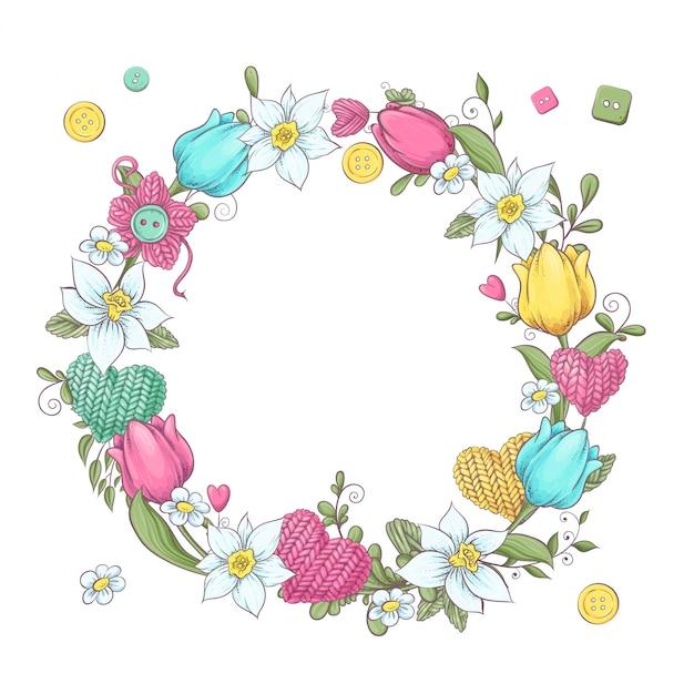 Wieniec z kreskówek z dzianiny elementów i akcesoriów i wiosennych kwiatów. rysunek odręczny. ilustracji wektorowych Premium Wektorów