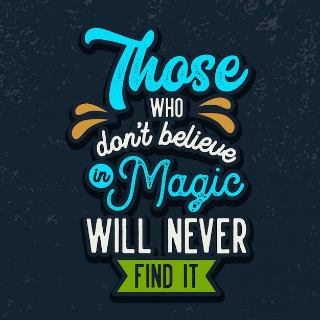 Wierzyć w magiczne cytaty typografii Premium Wektorów