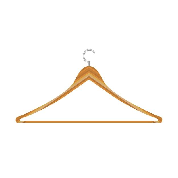 Wieszaki Drewniane Na Ubrania Kurtki Spodnie Na Białym Tle. Mieszkanie Premium Wektorów