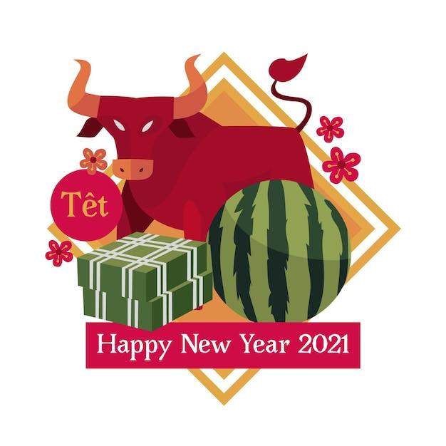 Wietnamski Nowy Rok 2021 I Red Bull Darmowych Wektorów