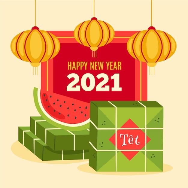 Wietnamski Nowy Rok 2021 Z Arbuzem Darmowych Wektorów