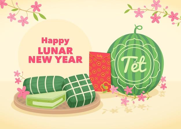 Wietnamski Nowy Rok Z Arbuzem Darmowych Wektorów