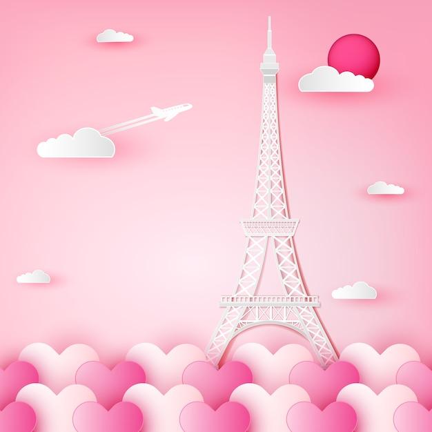 Wieża Eiffla, Francja, Paryż I Chmura Na Serce. Premium Wektorów