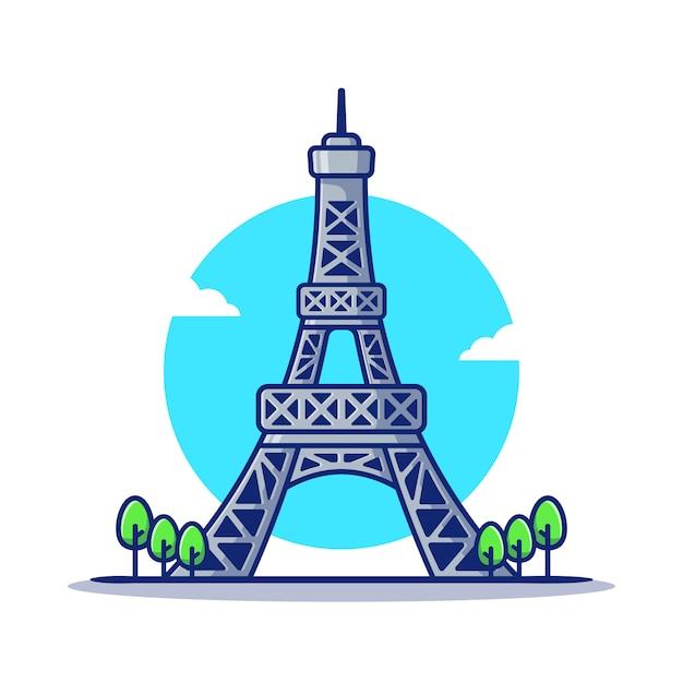 Wieża Eiffla Ikona Ilustracja Kreskówka. Słynny Budynek Podróży Ikona Koncepcja Na Białym Tle. Płaski Styl Kreskówki Premium Wektorów