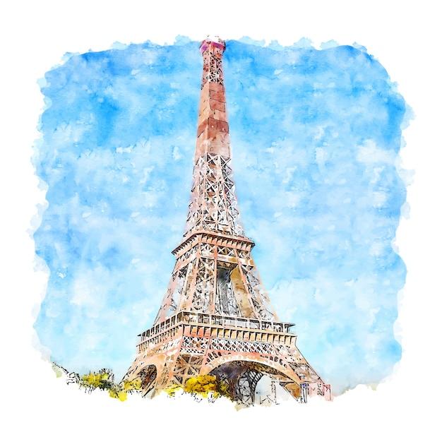 Wieża Eiffla Paryż Francja Szkic Akwarela Ręcznie Rysowane Ilustracji Premium Wektorów