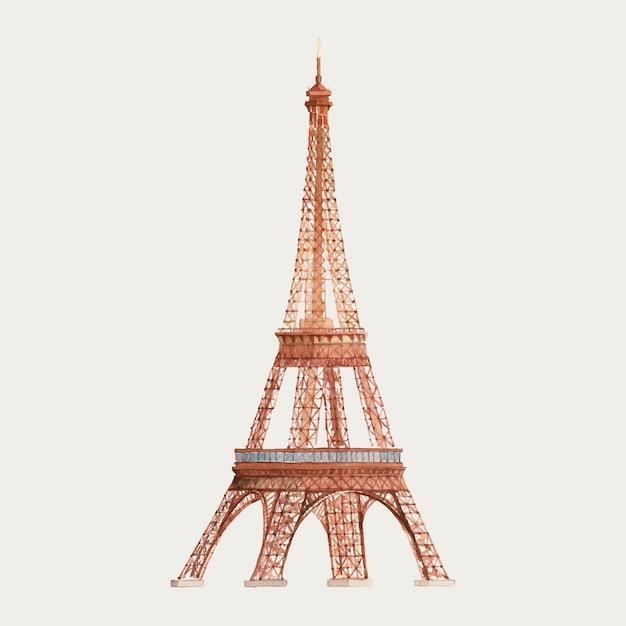 Wieża eifla w francja akwareli ilustraci Darmowych Wektorów