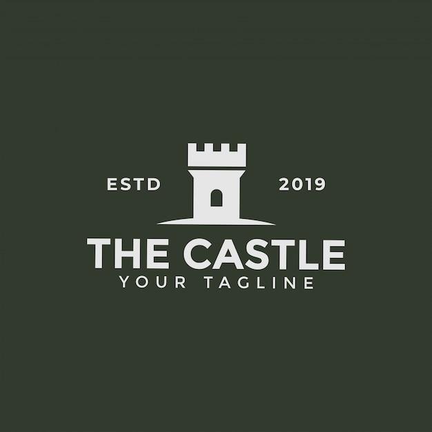 Wieża zamku, szablon projektu logo budynku twierdzy Premium Wektorów