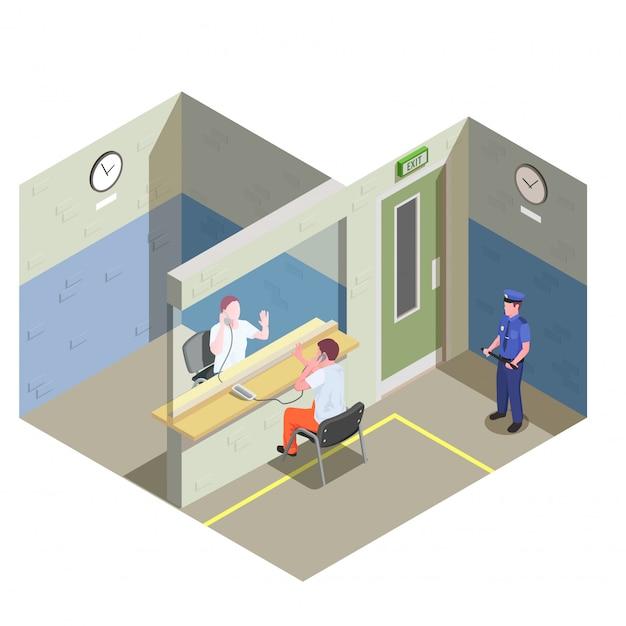 Więzienie Izometryczny Skład Z Bezstykowych Wizytacji Szklanej Partycji I Oglądanie Ilustracji Ochroniarz Więzienia Darmowych Wektorów