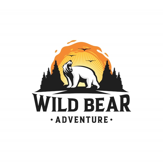 Wild Bear Logo Outdoor Adventure Premium Wektorów