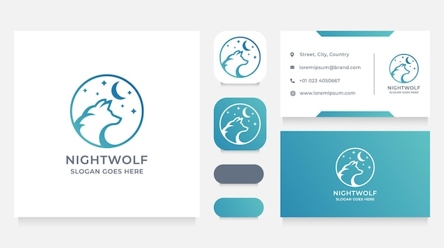 Wilk W Nocy Logo I Szablon Projektu Wizytówki Premium Wektorów