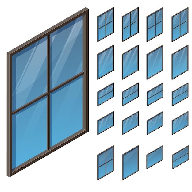 Windows W Widoku Izometrycznym Premium Wektorów