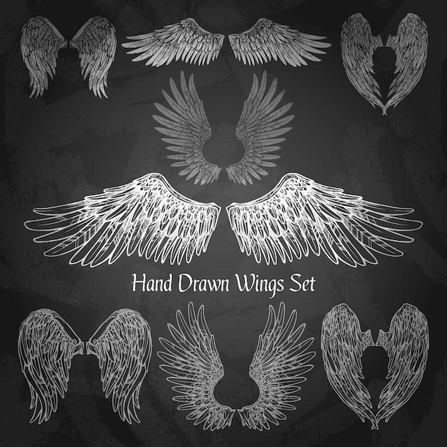 Wings chalkboard set Darmowych Wektorów