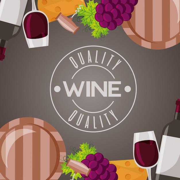 Wino drewniane beczki kubek i winogrona Darmowych Wektorów