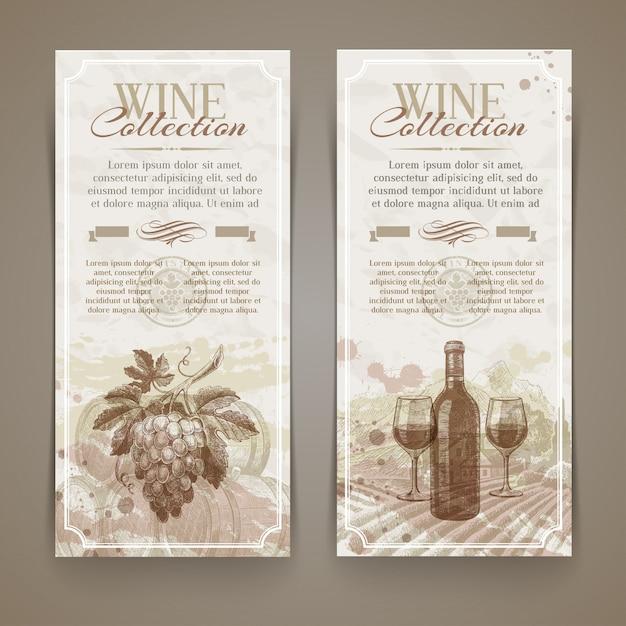 Wino I Winiarstwo - Grunge Rocznika Banery Z Ręcznie Rysowane Elementy Premium Wektorów