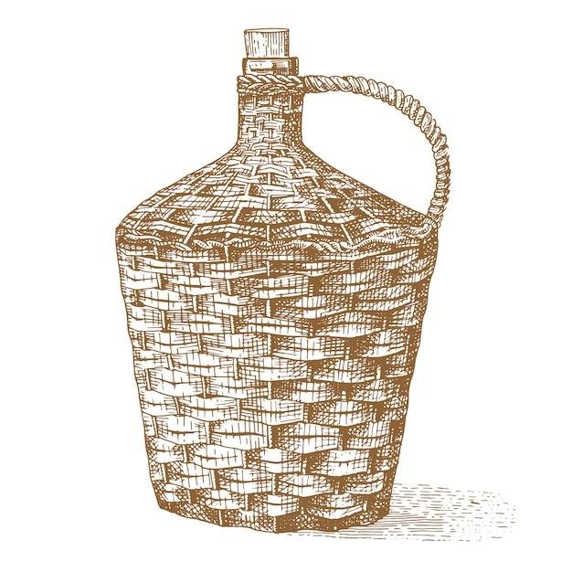 Wino Stare Tradycyjne Ręcznie Plecione Butelki Ręcznie Rysowane Grawerowane Stare Patrząc Vintage Ilustracji Premium Wektorów