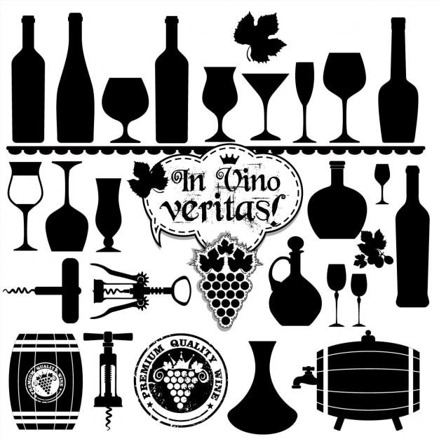 Wino Zestaw Design Element Darmowych Wektorów
