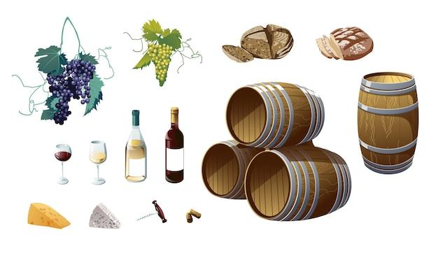 Winogrona, Butelki Wina, Kieliszek Do Wina, Beczka, Winogrona, Ser, Chleb. Obiekty Na Białym Tle. Premium Wektorów