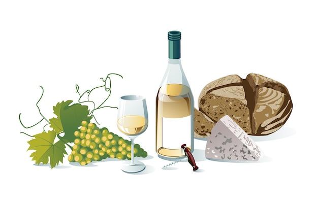 Winogrona, Butelki Wina, Kieliszek Do Wina, Winogrona, Ser, Chleb. Obiekty Na Białym Tle. Premium Wektorów