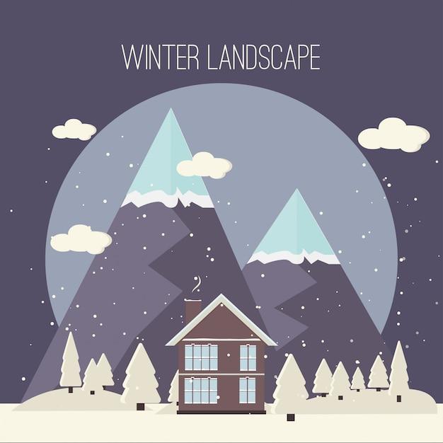Winter Snow Urban Countryside Krajobraz Miasto Wieś Premium Wektorów