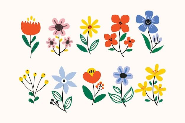 Wiosenna Kolekcja Kwiatów Darmowych Wektorów