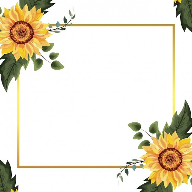 Wiosenna ramka kwiatowa Premium Wektorów