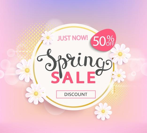 Wiosenna Sprzedaż Etykieta 50 Procent Zniżki. Premium Wektorów