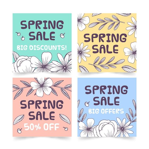 Wiosenna Wyprzedaż Instagram Kolekcja Post Z Kolorowymi Kwiatami Darmowych Wektorów