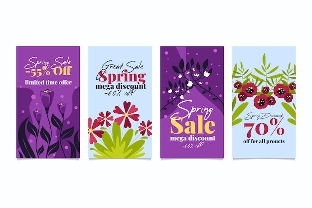 Wiosenna Wyprzedaż Kolekcja Opowiadań Instagram Z Kolorowymi Kwiatami Darmowych Wektorów