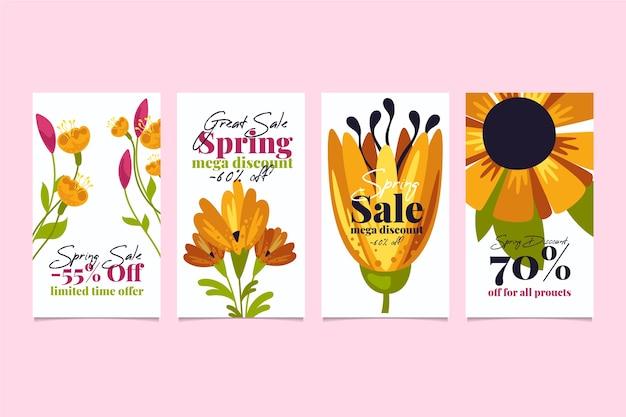 Wiosenna Wyprzedaż Kolekcja Opowiadań Instagram Z Pięknymi Kwiatami Darmowych Wektorów
