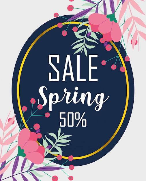 Wiosenna Wyprzedaż, Procent Zniżki Na Sezon Kwiatów Odznaka Premium Wektorów