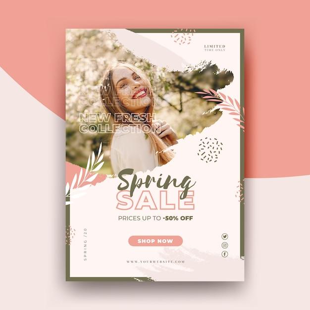 Wiosenna Wyprzedaż Szablon Ulotki Ze Zdjęciem Darmowych Wektorów