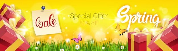Wiosenna wyprzedaż zakupy specjalna oferta świąteczna Premium Wektorów