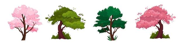 Wiosenne Drzewa Z Różową Sakurą, Pniami, Zieloną Koroną. Premium Wektorów