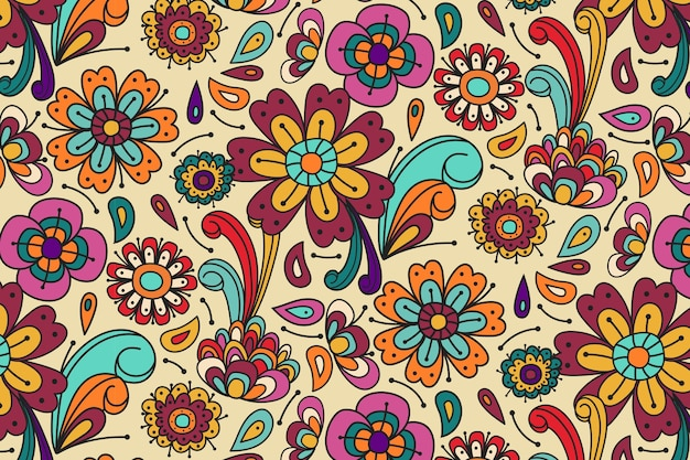 Wiosenne Kwiaty I Liście Groovy Kwiatowy Wzór Premium Wektorów
