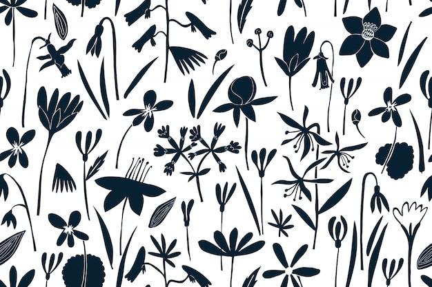 Wiosenne Kwiaty Wzór. Nadruk W Stylu Skandynawskim. Ręcznie Rysowane Ilustracje Premium Wektorów