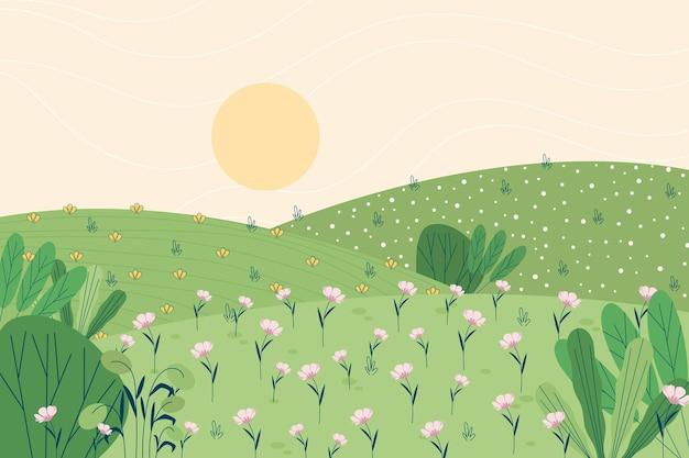 Wiosenny Krajobraz Darmowych Wektorów