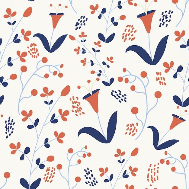 Wiosna bezszwowy wzór z kolorowymi kwiatami Premium Wektorów