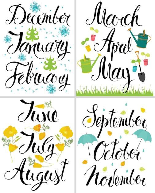 Wiosna, Jesień, Zima, Lato. Miesiąc Roku. Kaligrafia Darmowych Wektorów