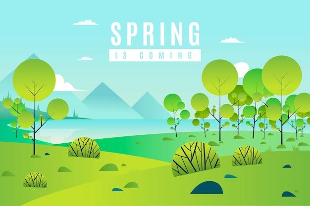 Wiosna Krajobraz Z Drzewami I Zielenią Darmowych Wektorów
