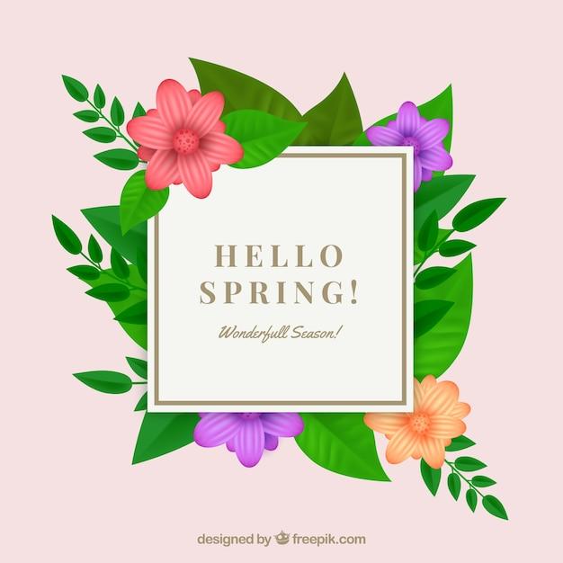 Wiosna kwiatowy ramki w realistyczny styl Darmowych Wektorów