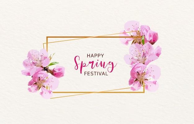 Wiosna Kwitnąca Wiśnia Tło Premium Wektorów