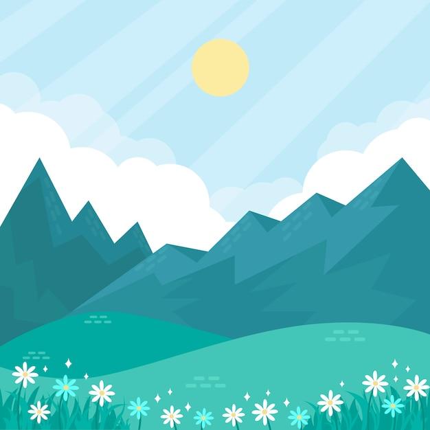 Wiosna Naturalny Krajobraz Z Kwiatami I Mglistymi Górami Darmowych Wektorów
